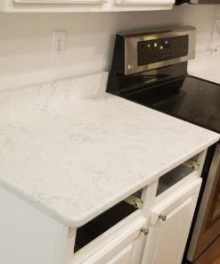 Aspen Quartz kitchen countertop install with matching backsplash