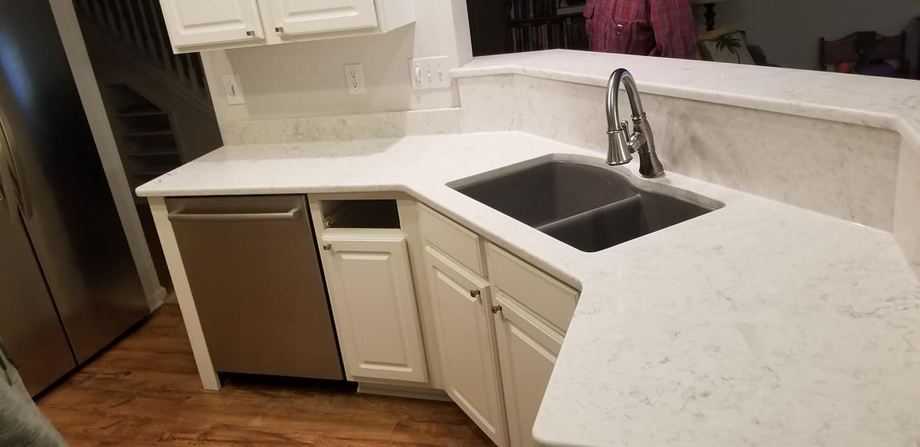 Aspen Quartz kitchen countertop install