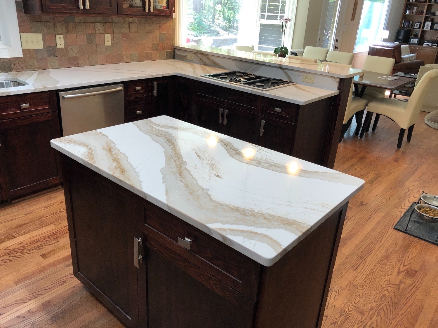 Brittanica Gold Quartz kitchen island counter