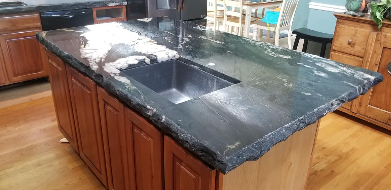 Cosmic Black Granite Kitchen Island Chiseled Edge