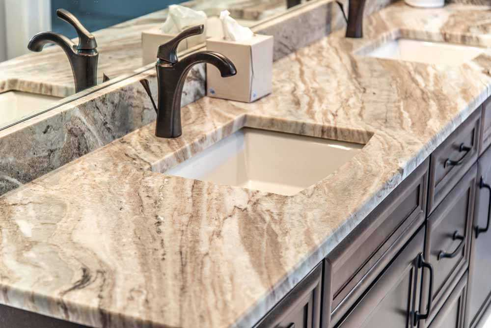 Fantasy Brown Marble bathroom vanity top with dual sinks
