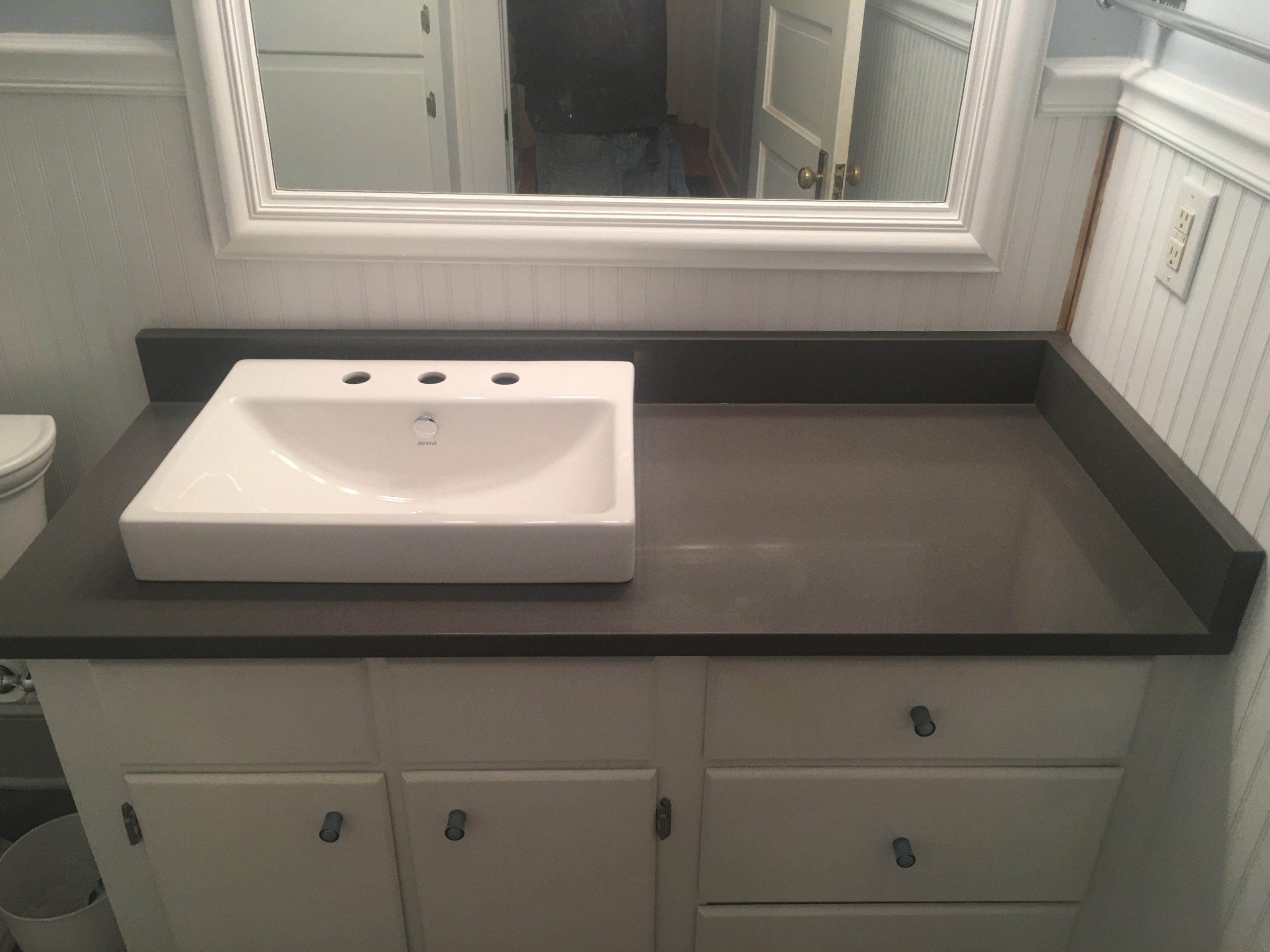 Heirloom Grey Quartz bathroom vanity install