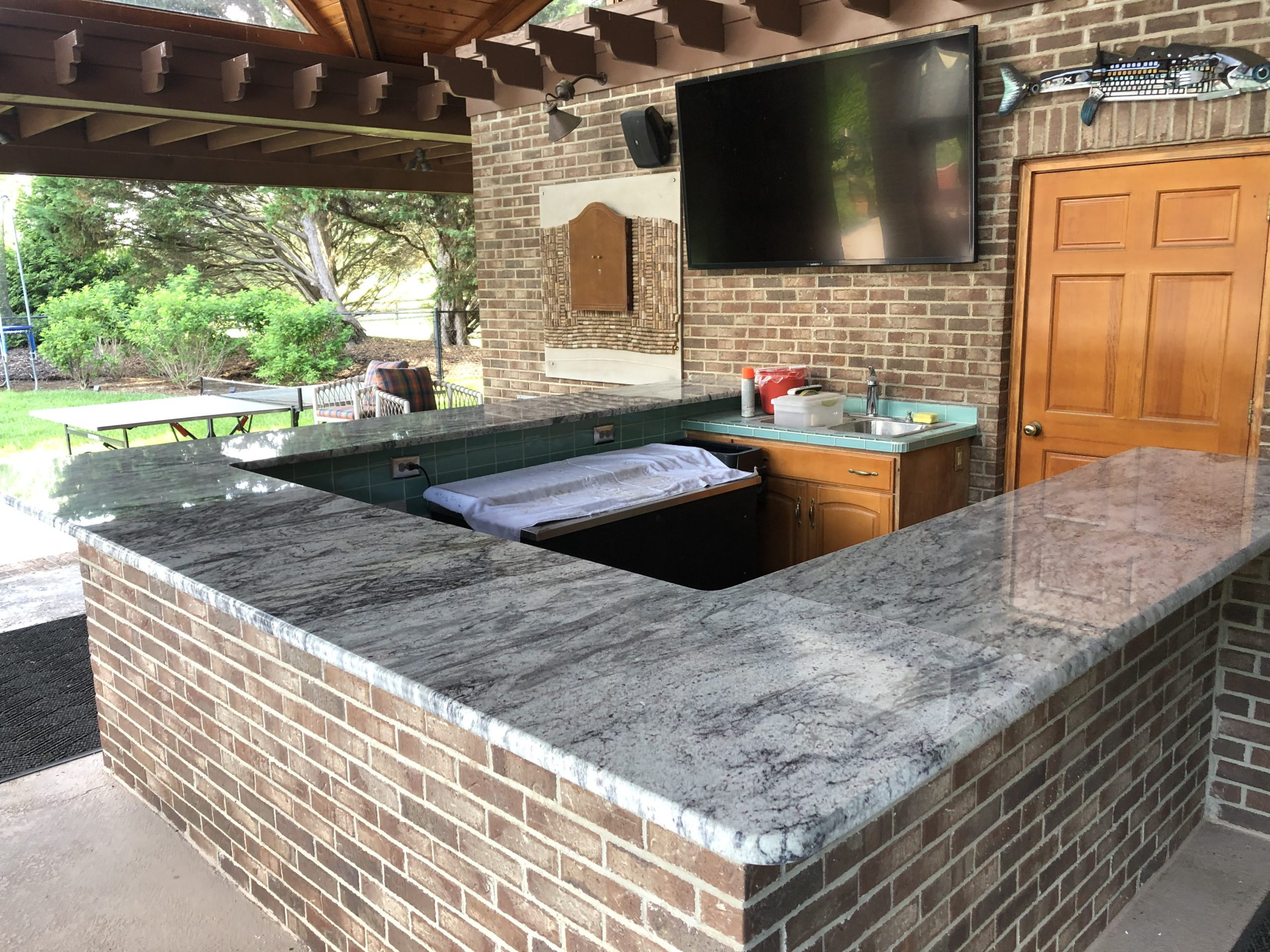 River White Granite Countertops Outdoor Kitchen