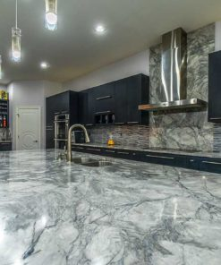 Super White Marble kitchen island countertop close-up