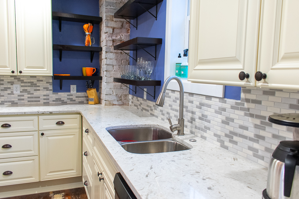 Tropical White Quartz kitchen countertop sink area