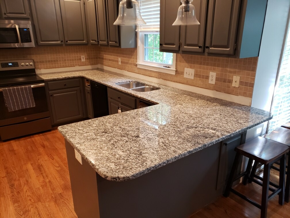 Wave Flower Granite Kitchen Countertops With Custom Shaker Cabinets