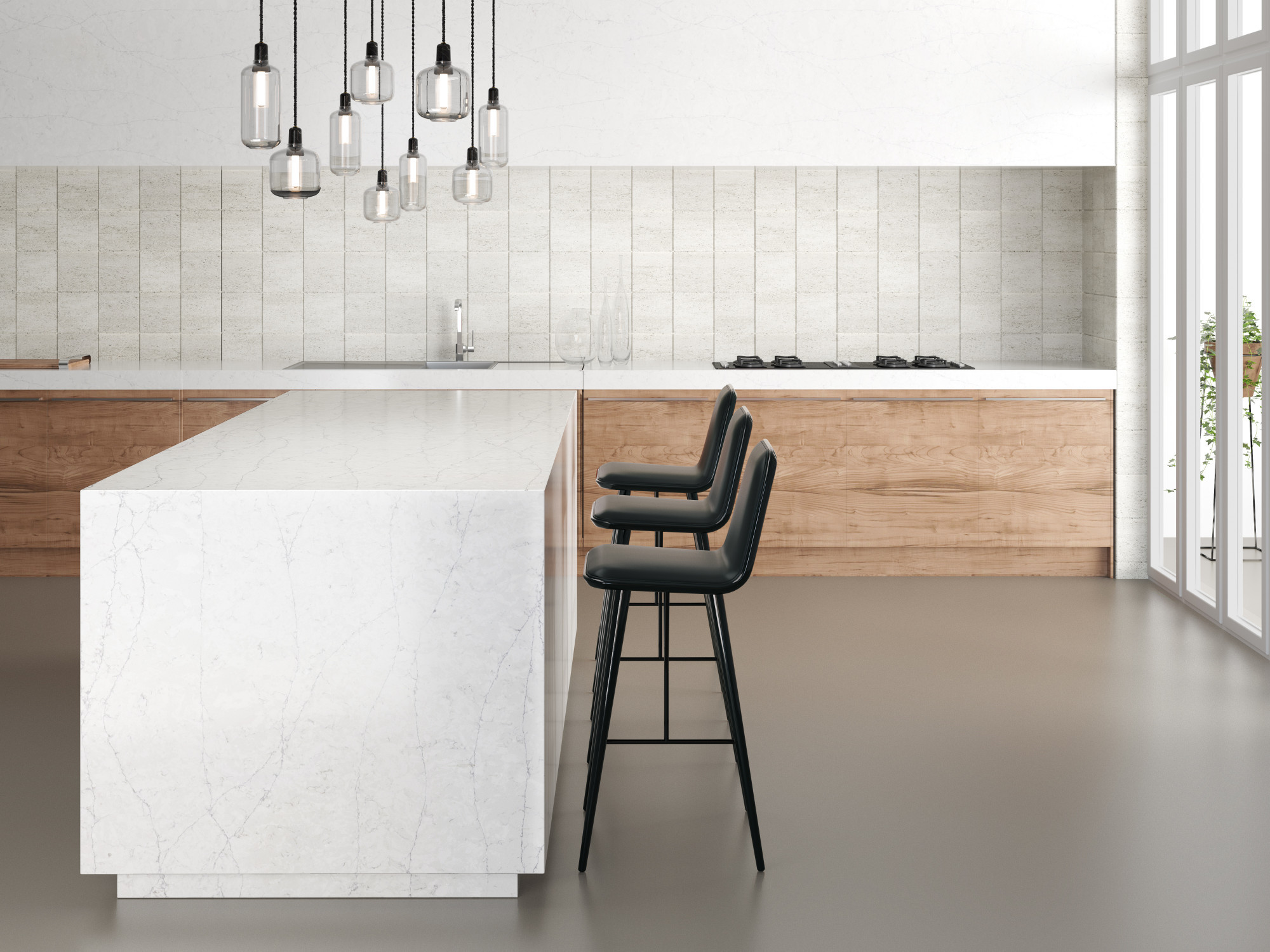 Pearl Jasmine quartz kitchen island by Silestone