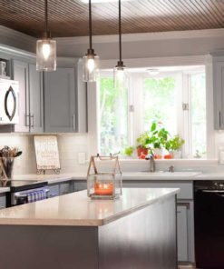 White Lace Quartz kitchen countertop and island