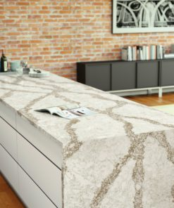 Beaumont quartz kitchen island with waterfall edges