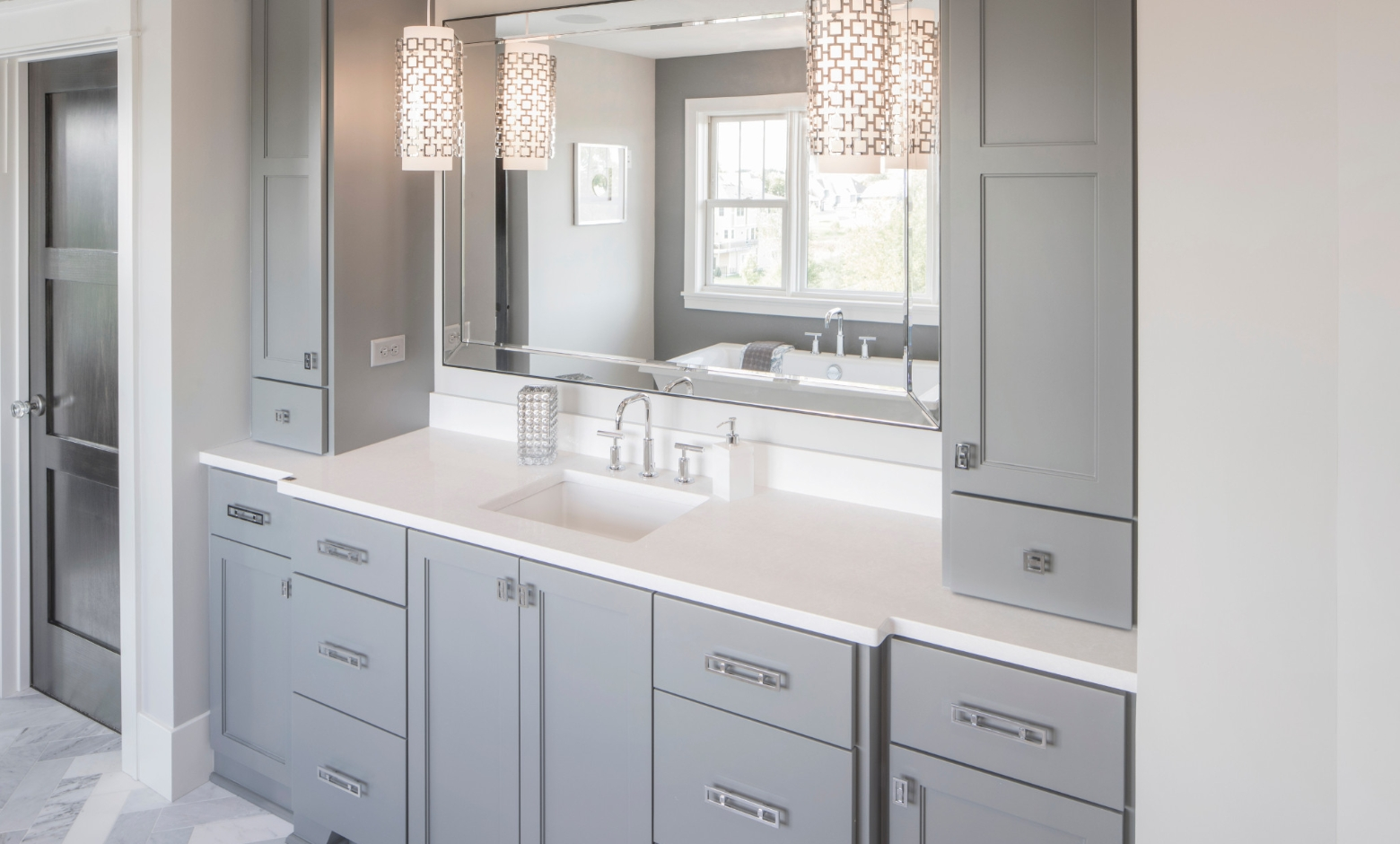 Newport quartz vanity top with gray cabinets