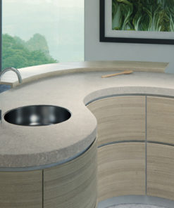 Curved Bianco Drift Quartz Kitchen Island Countertops